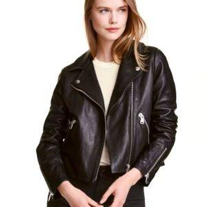 H&M Short Biker Faux Leather Jacket Black